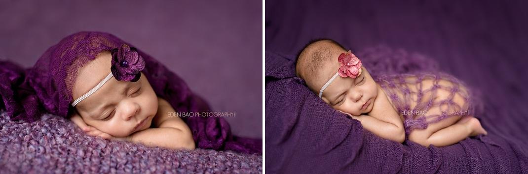 Richmond Vancouver BC Newborn Girl Twins Photographer Purple Single
