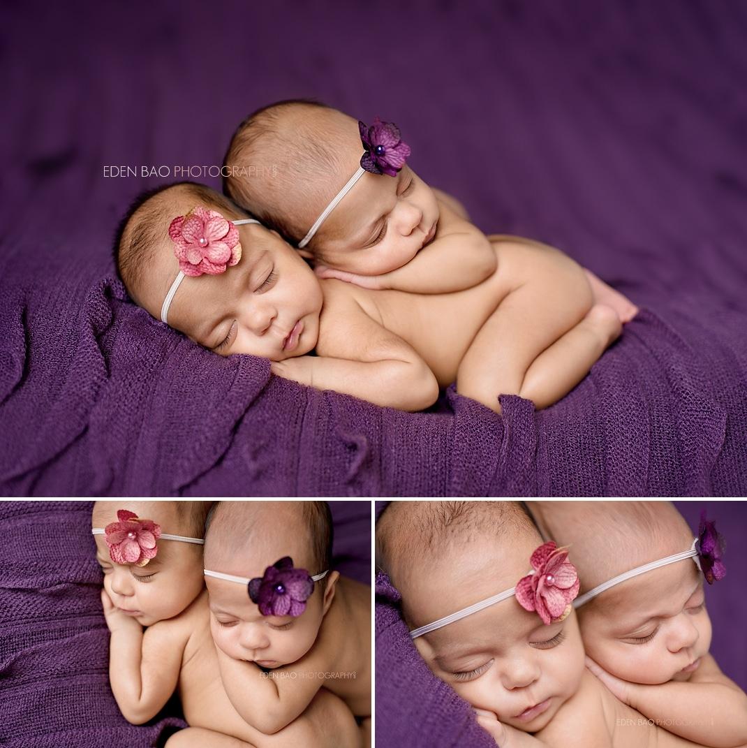 Richmond Vancouver BC Newborn Girl Twins Photographer Purple