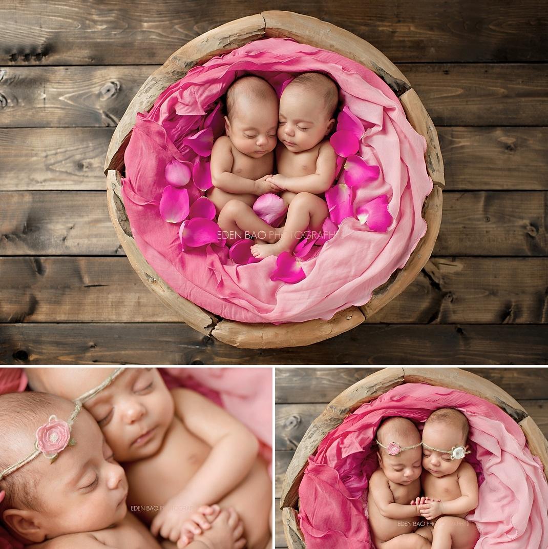 Richmond Vancouver BC Newborn Girl Twins Photographer Wood Bowl Pink Petals