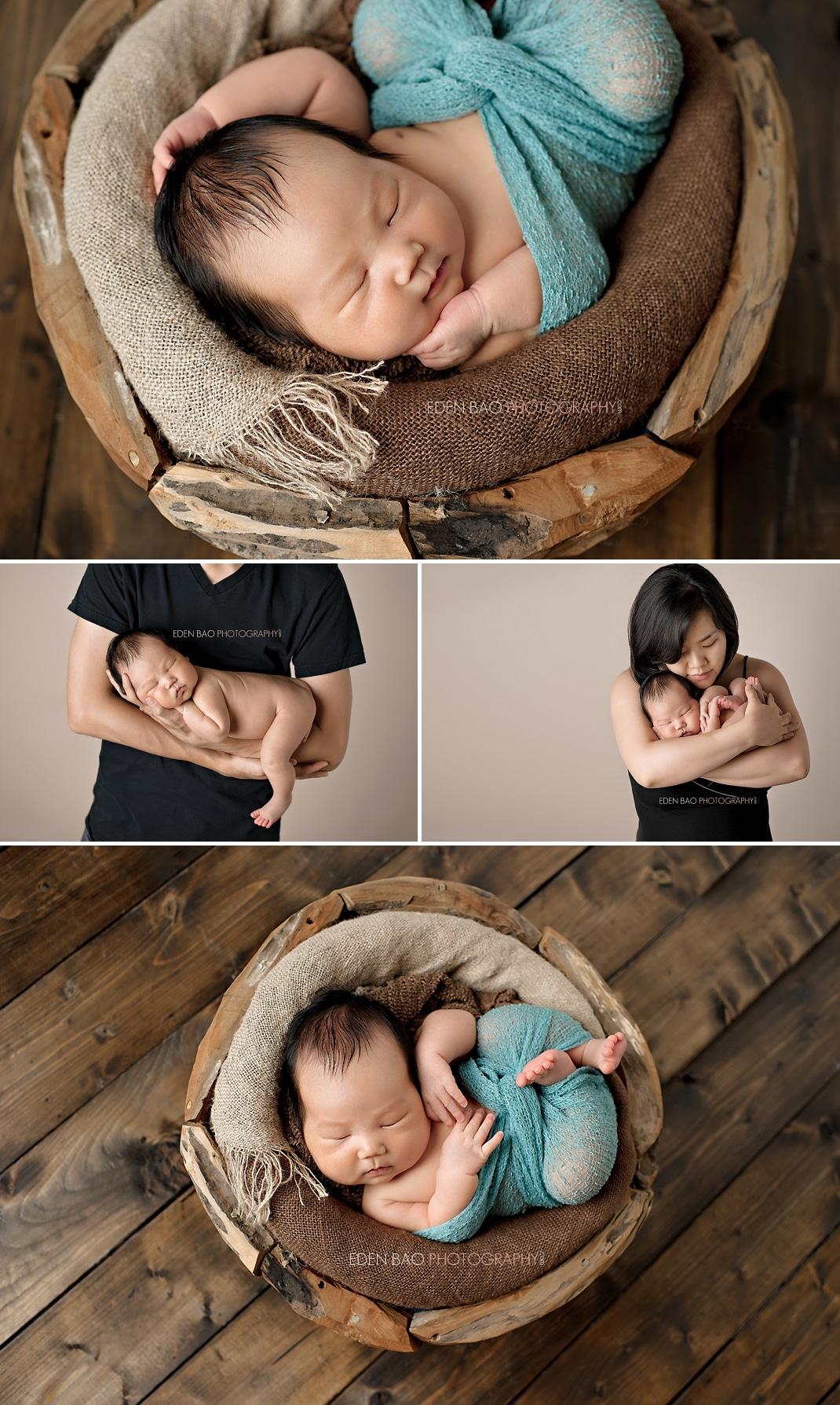 Vancouver BC Newborn Photographer Eden Bao Wooden Bowl teal blue wrap parents