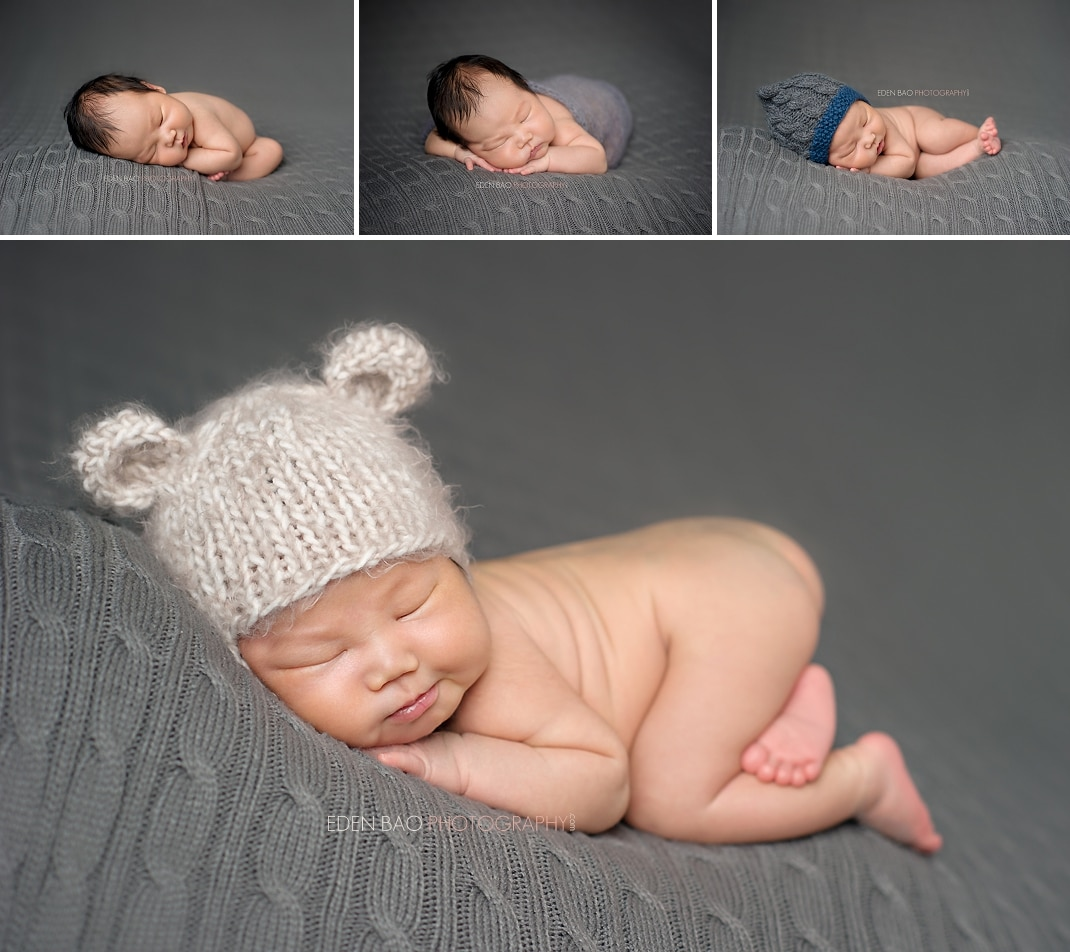 Vancouver bc newborn photographer eden bao grey cable knit backdrop cream bear hat
