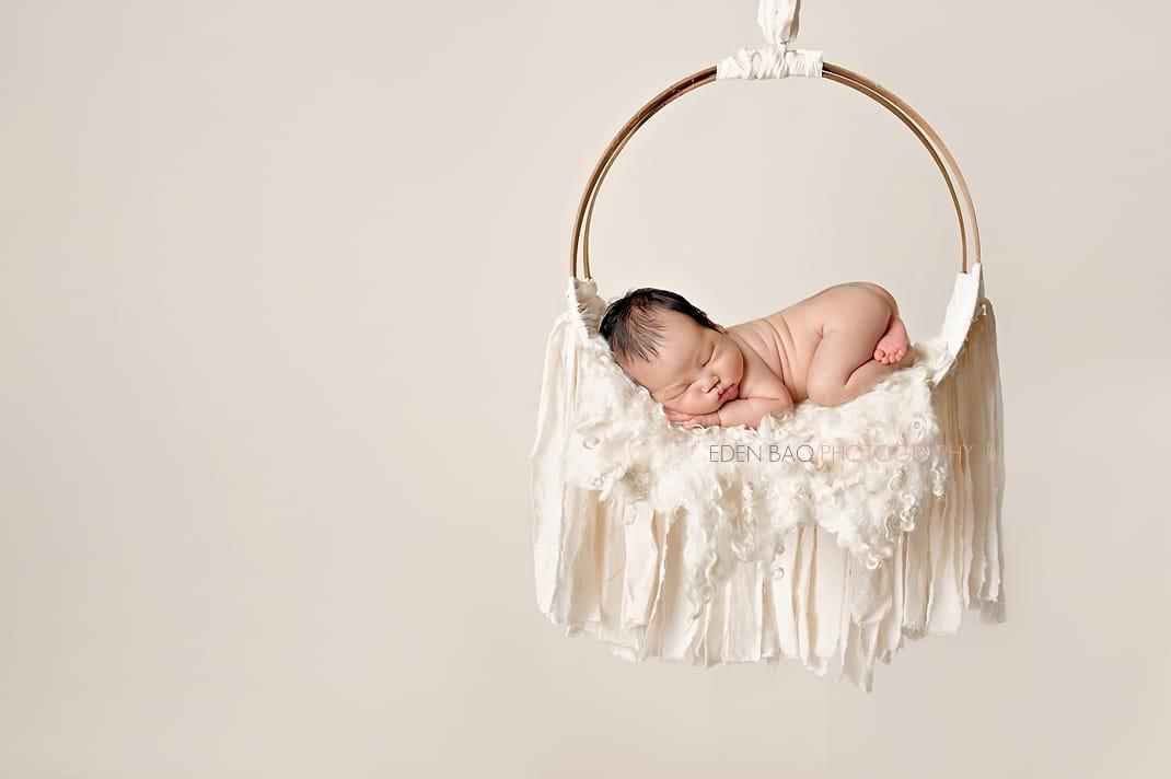 Vancouver BC Newborn Photographer Eden Bao wool blanket cream dream catcher