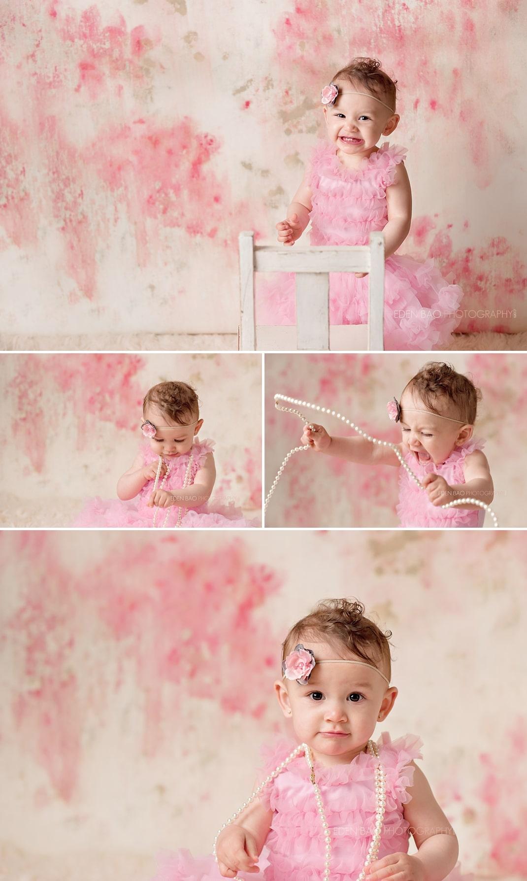 Surrey Vancouver BC Baby Photographer 1 year portrait pink floral backdrop dress