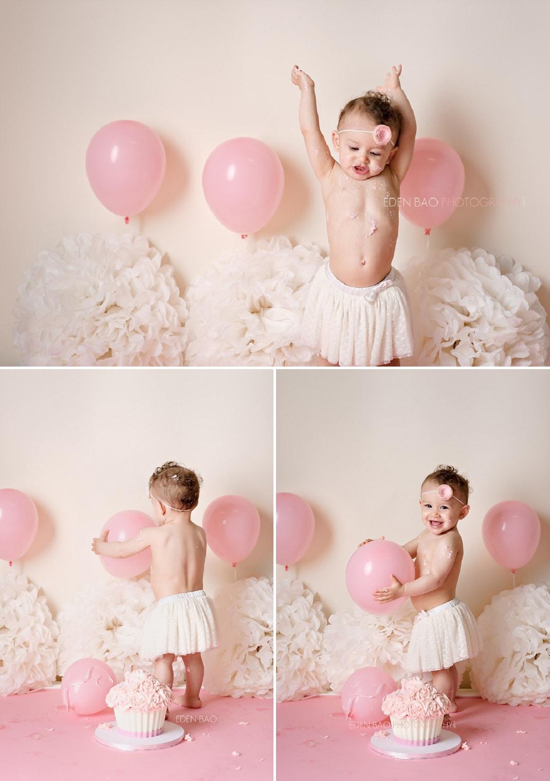 Surrey Vancouver BC Baby Photographer pink ivory cake smash 2