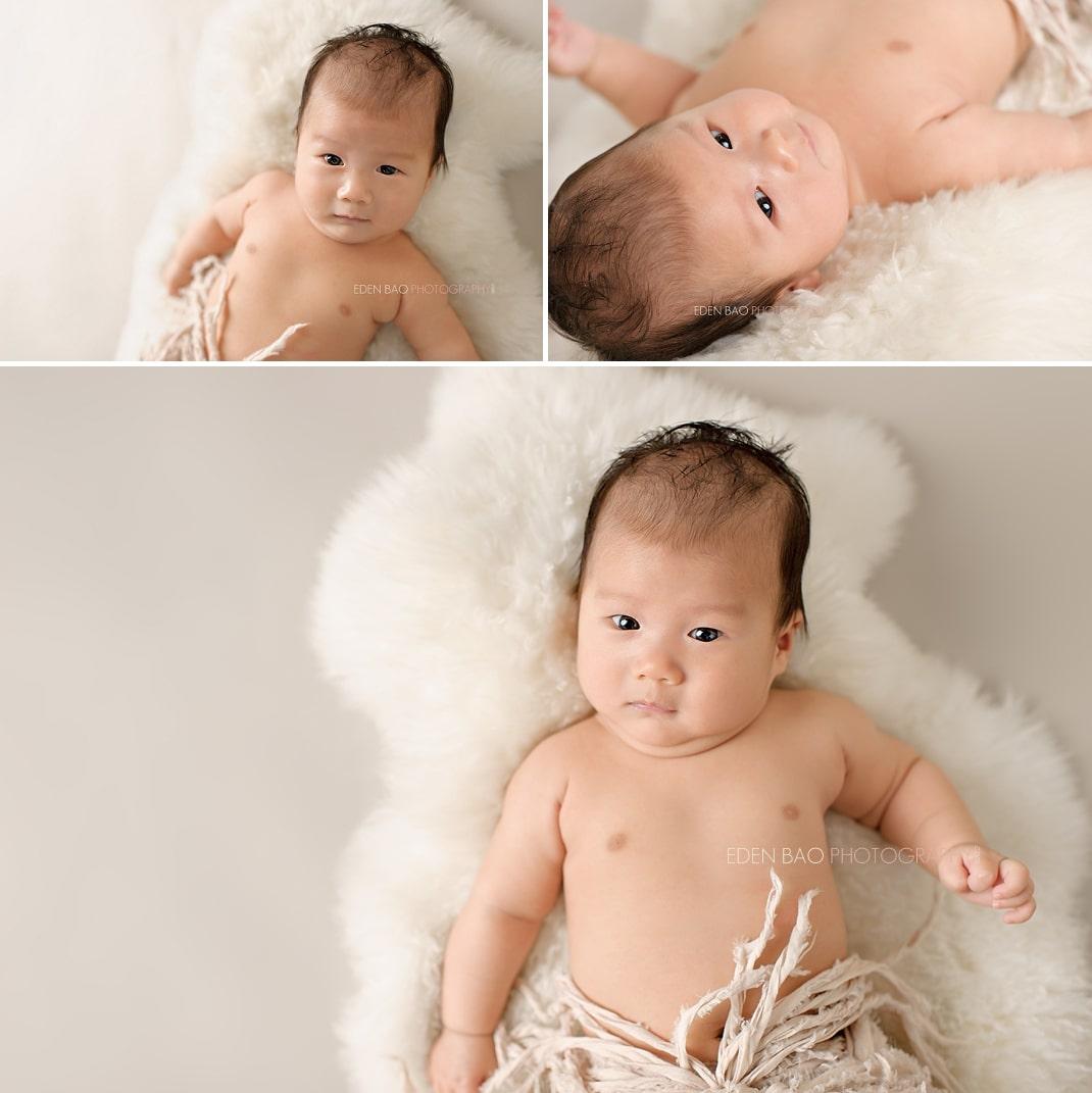 Richmond Vancouver BC Baby Photographer Jayden 3 months sheep rug