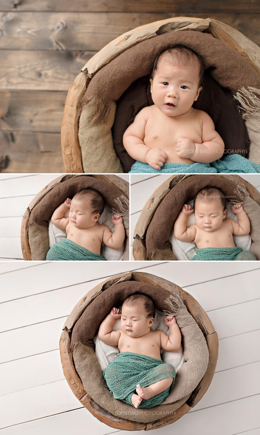 Richmond Vancouver BC Baby Photographer Jayden 3 months wood bowl