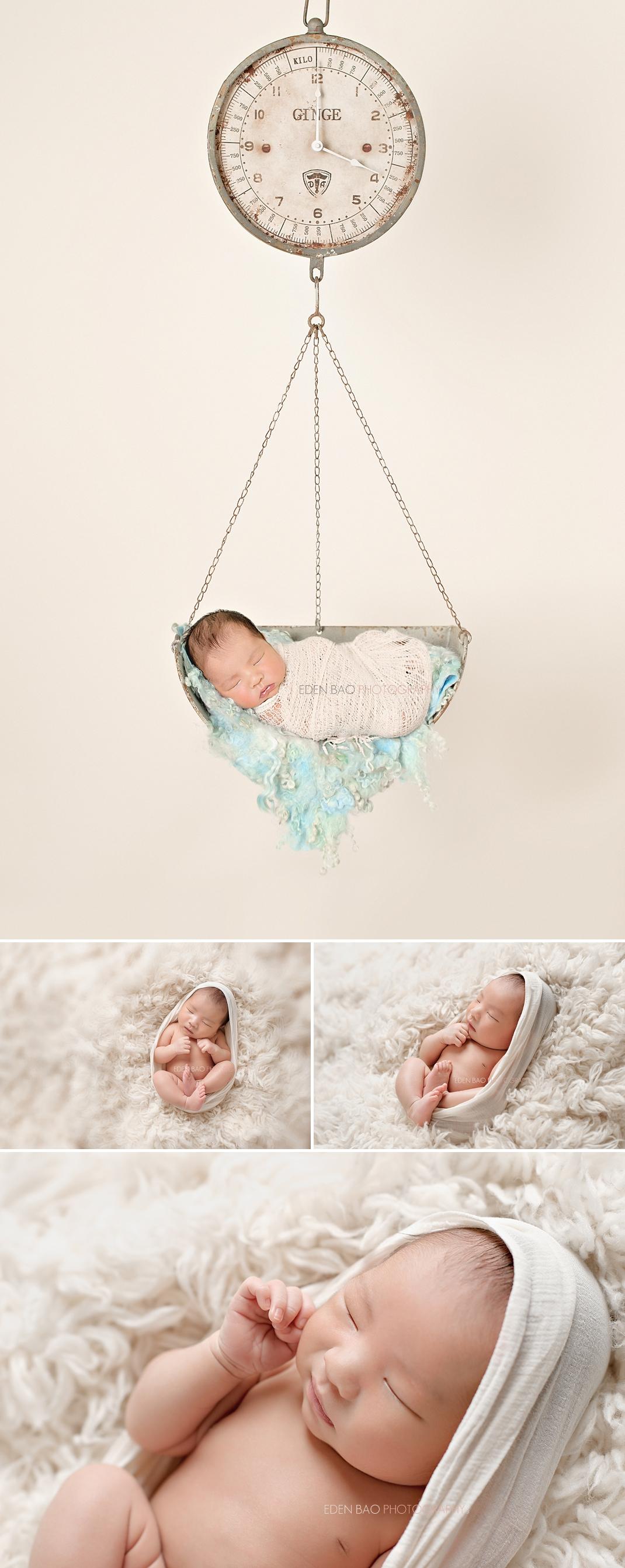 Vancouver BC Newborn Photographer vintage scale shaggy blanket