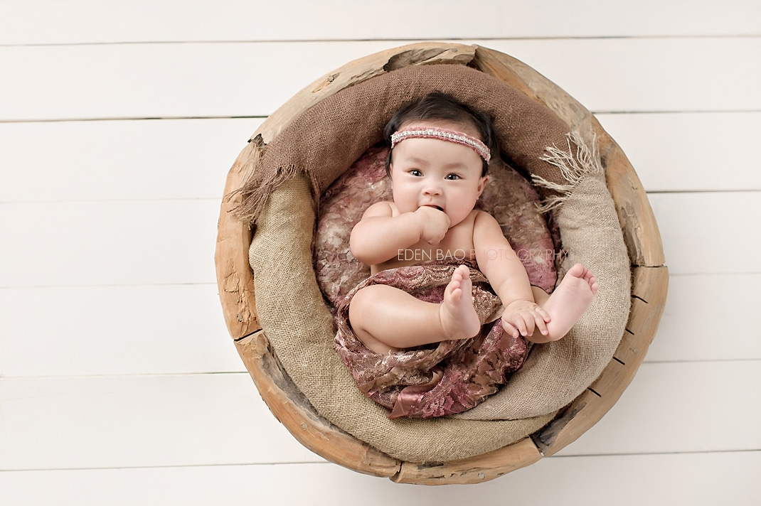 New Westminster Vancouver BC Twin Baby Photographer girl baby wooden bowl