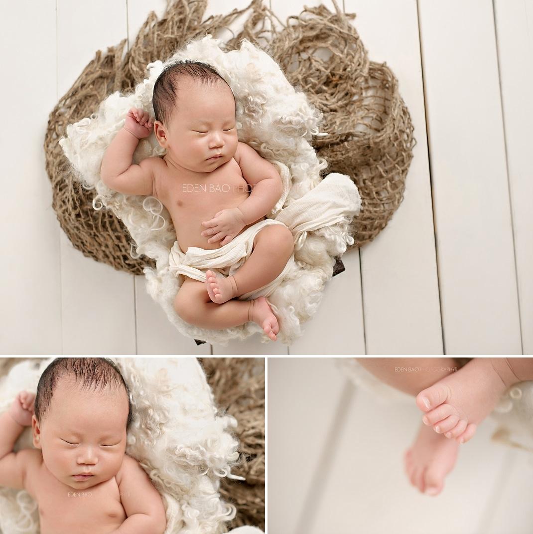 West Vancouver BC Newborn Photographer burlap white wood floor