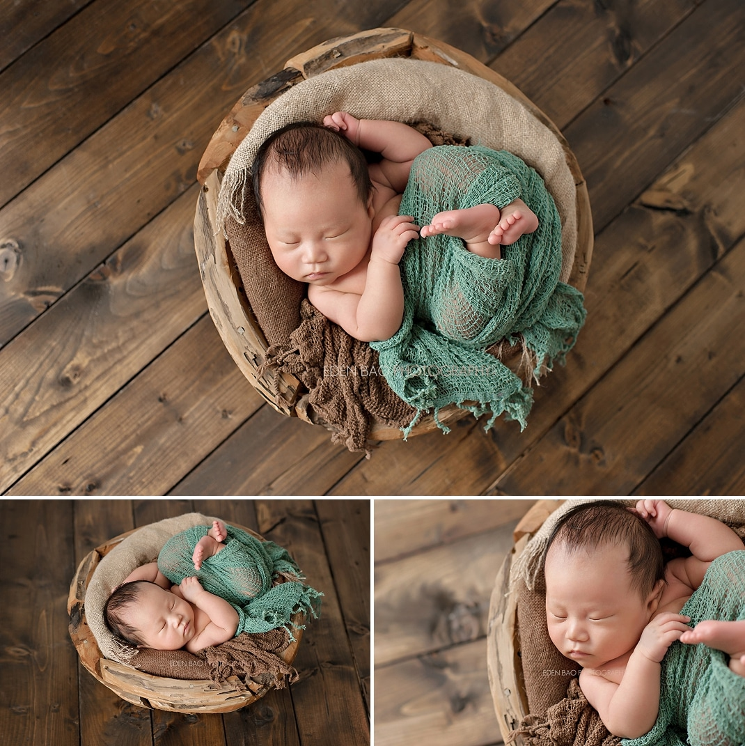 West Vancouver BC Newborn Photographer wood bowl walnut stained wood floor