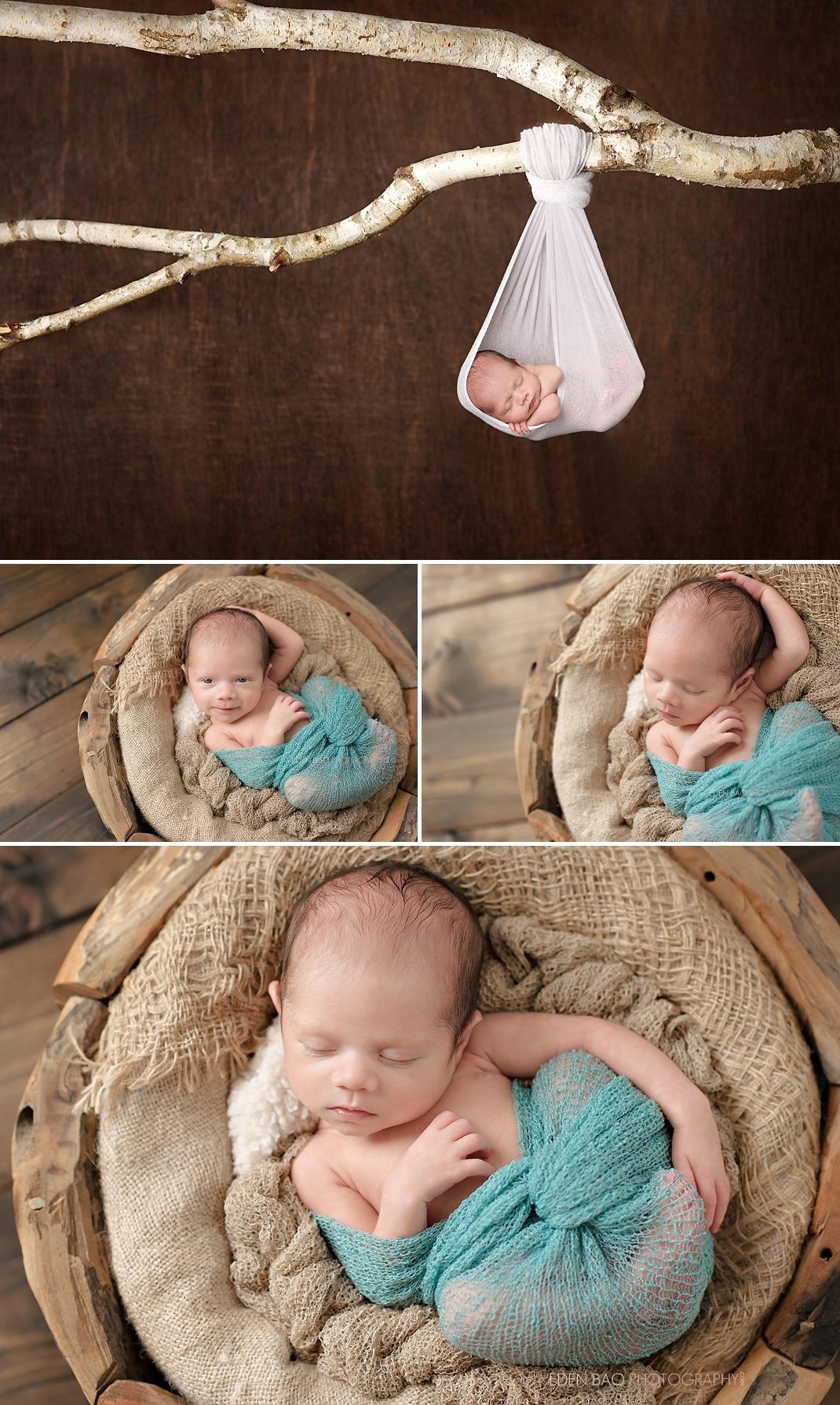 Burnaby BC Newborn Photographer Eden Bao hanging from tree branch wooden bowl