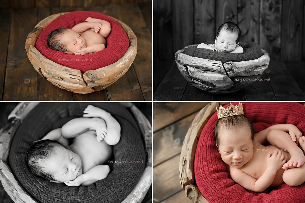 Vancouver BC Newborn Photographer red blanket wood bowl