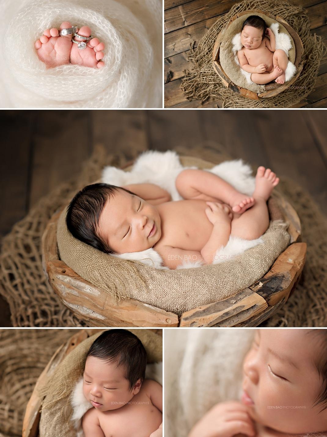 Vancouver BC Newborn Photographer earthy wood bowl