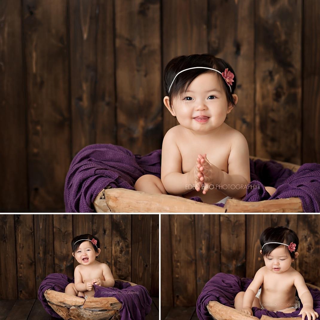 Seattle WA Baby Photographer purple wood backdrop