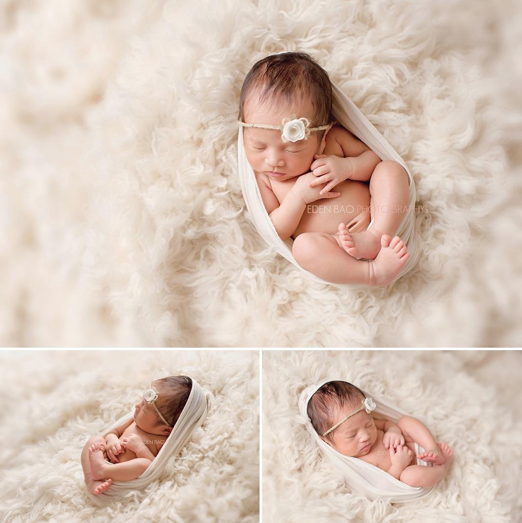 Seattle WA Newborn Photographer natural shaggy rug