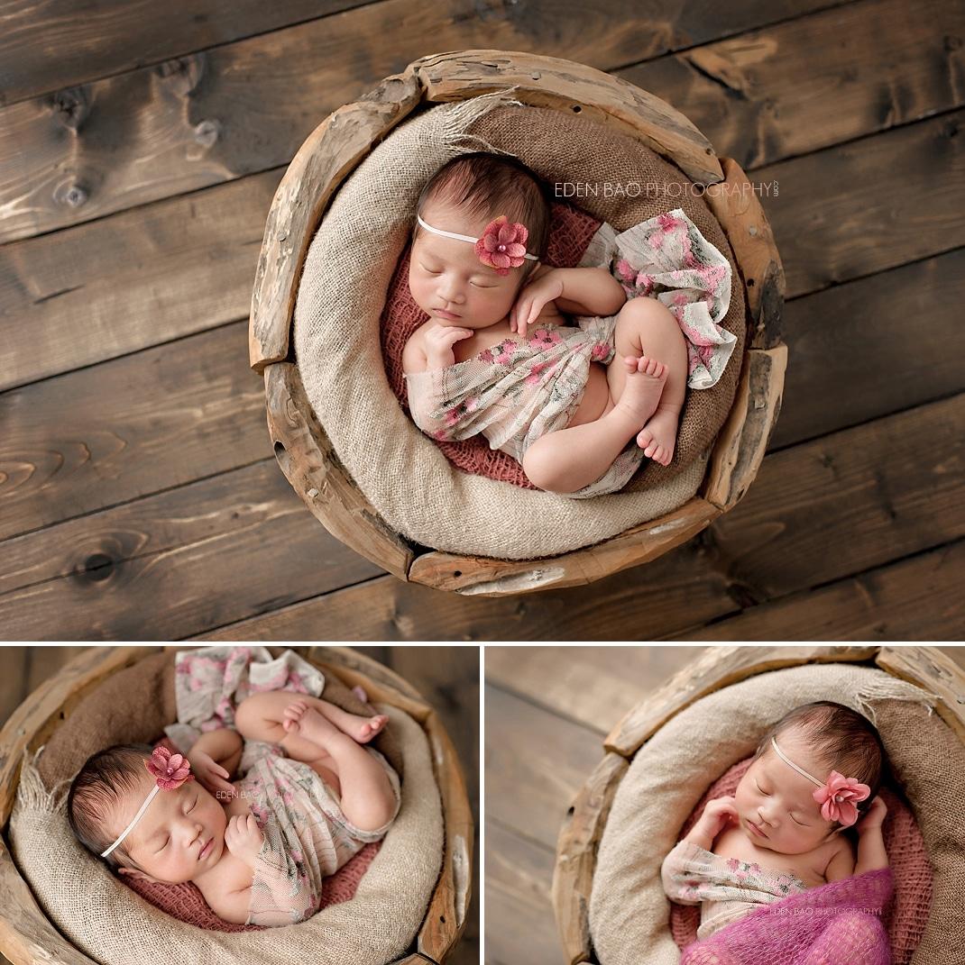 Seattle WA Newborn Photographer wood bowl