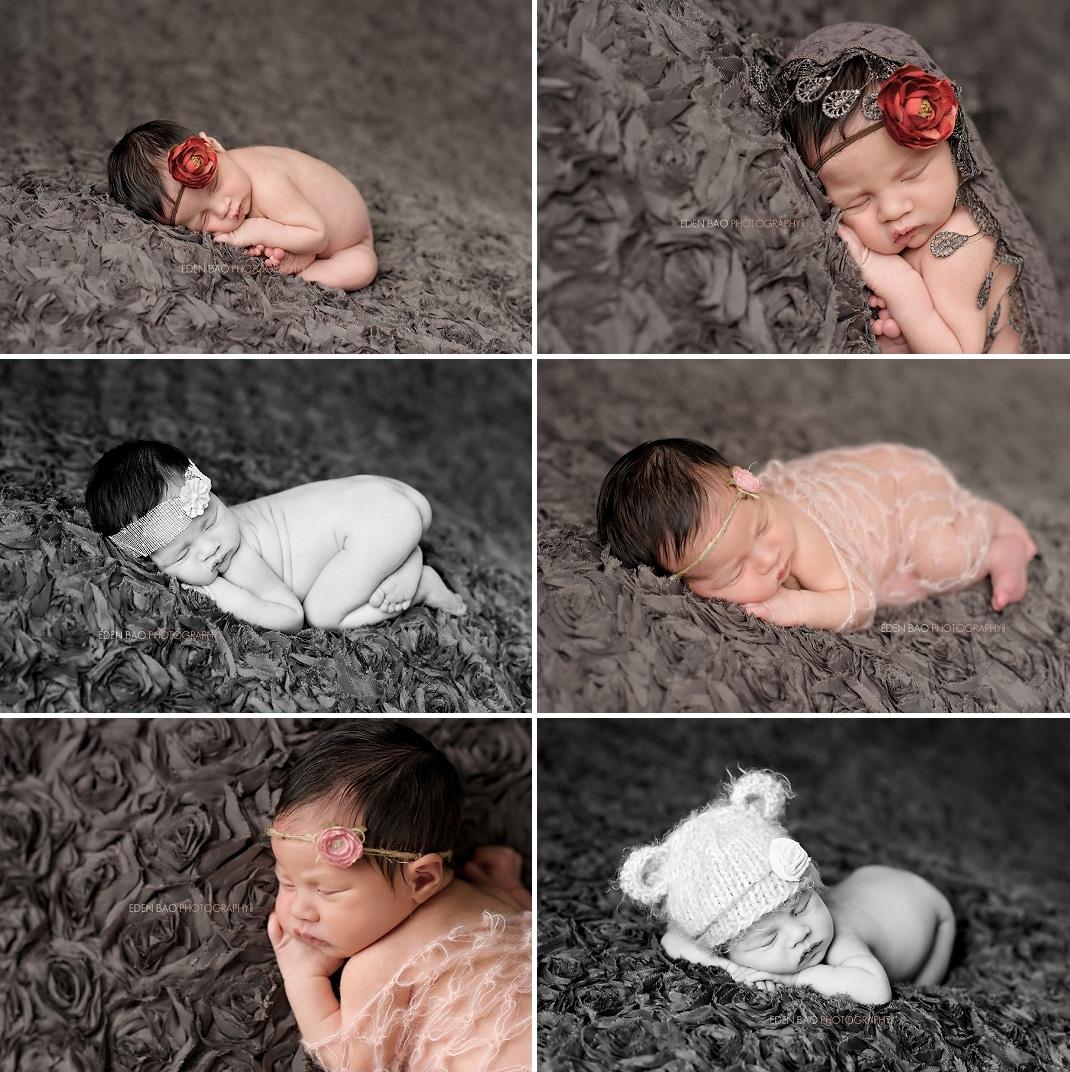 Seattle WA Newborn Photographer grey floral blanket