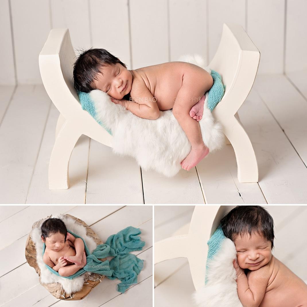 Seattle Newborn Photographer curve bench cream