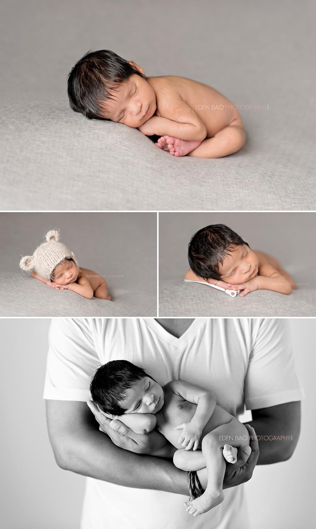 Seattle Newborn Photographer light grey blanket