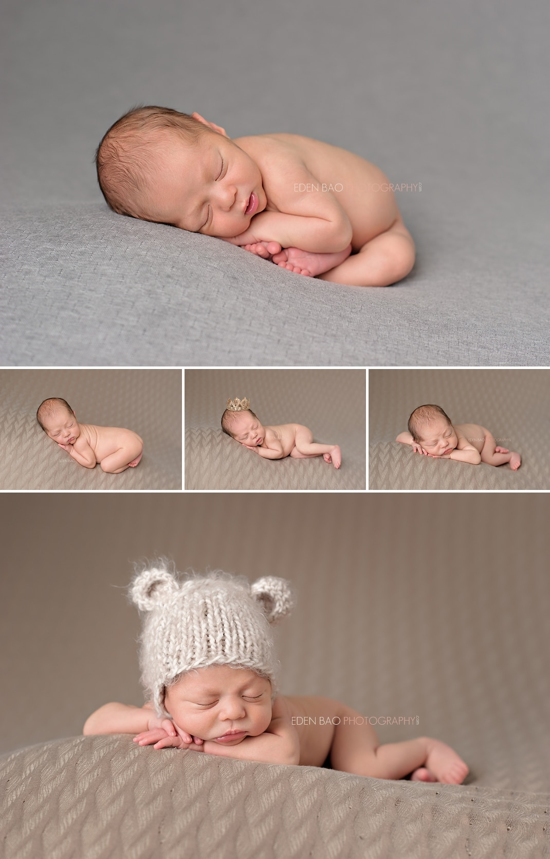 Seattle Newborn Photographer beanbag poses