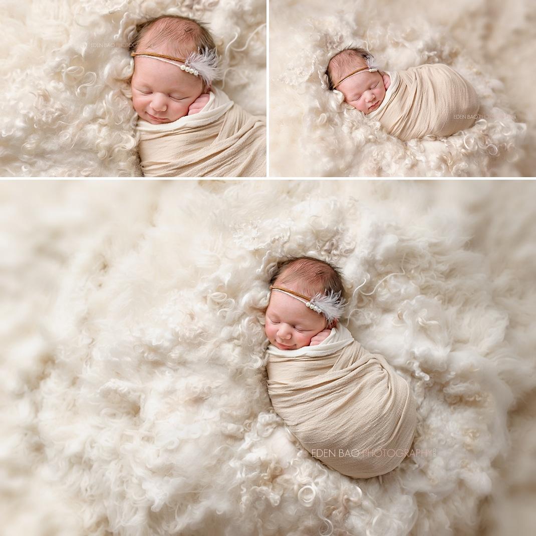 Seattle Newborn Photographer natural cream flokati
