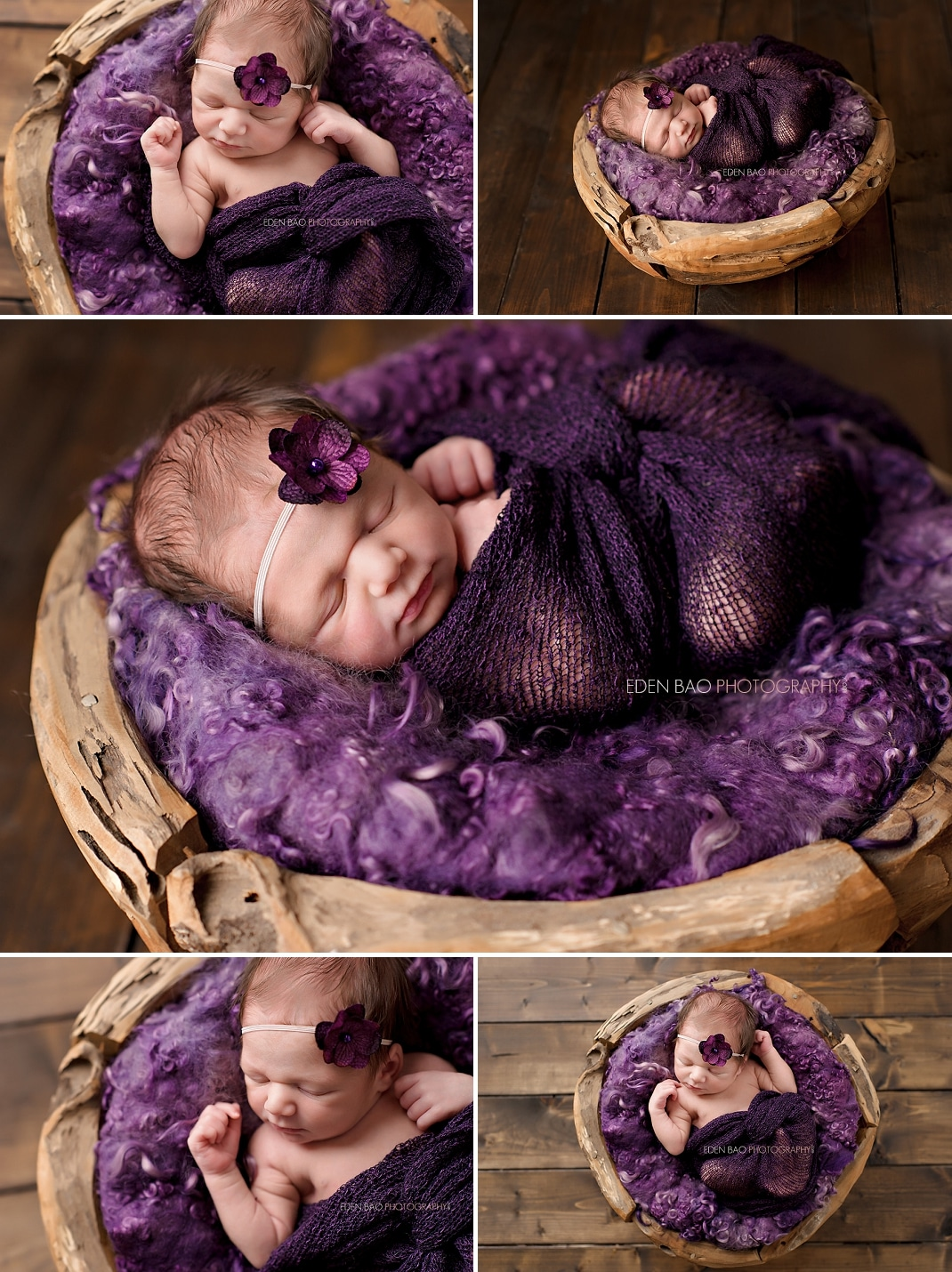 Newborn Mentoring | baby in wood bowl purple felted curls