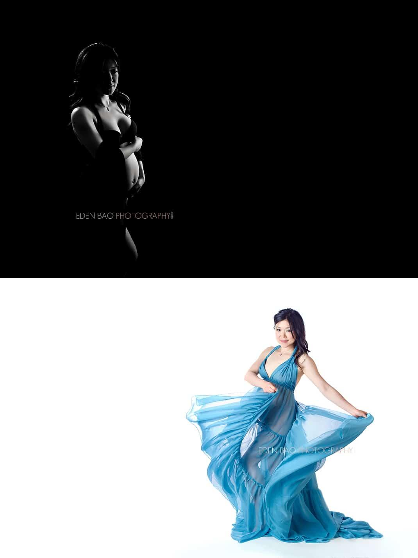 Seattle Maternity Photographer blue flowing dress