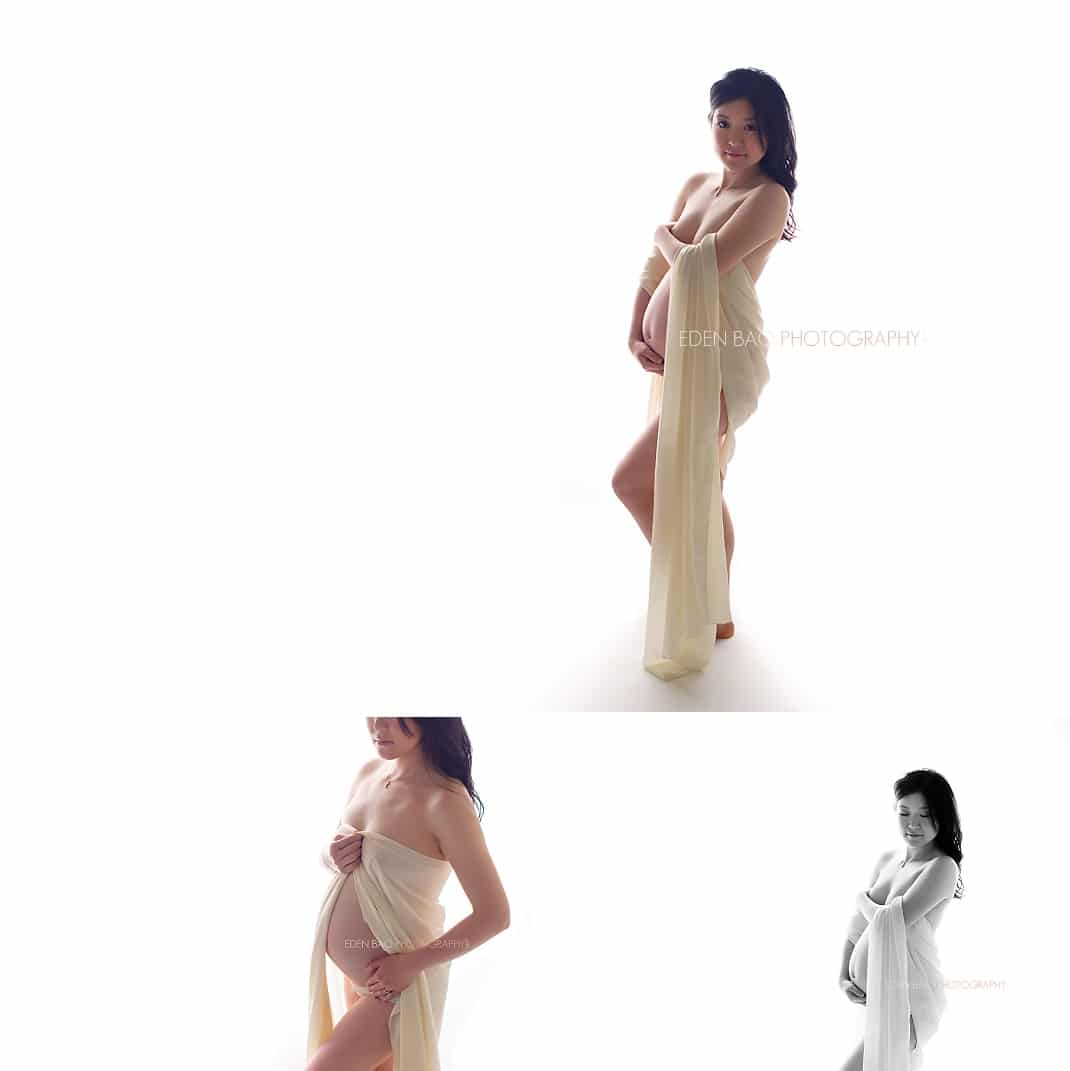 Seattle Maternity Photographer flowing fabric