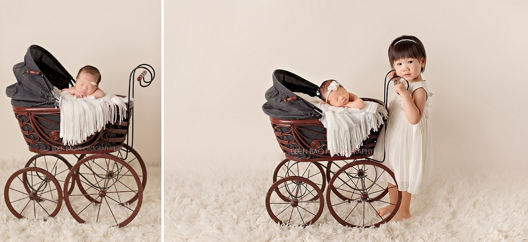 Newborn Photographer Seattle Sibling baby carriage