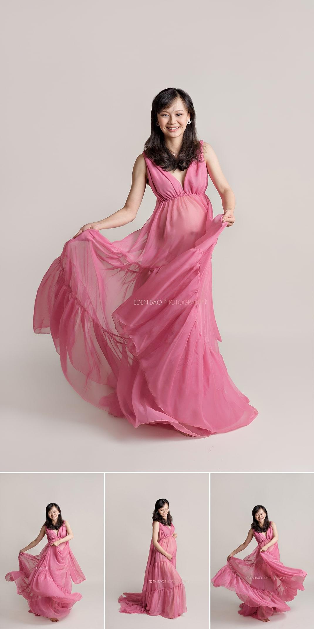 Seattle Maternity Photographer dark pink dress