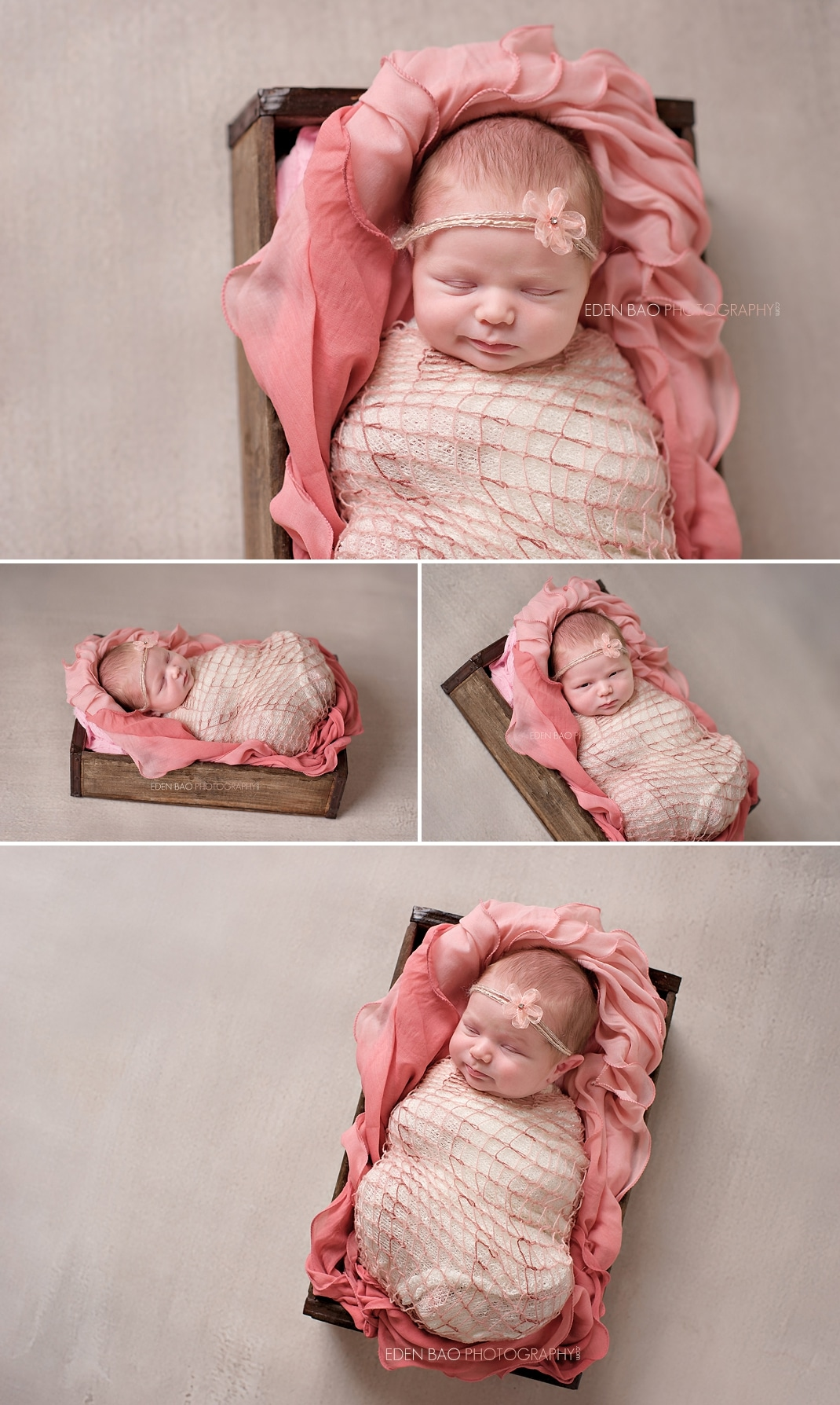 Newborn Photo Seattle peach wooden box