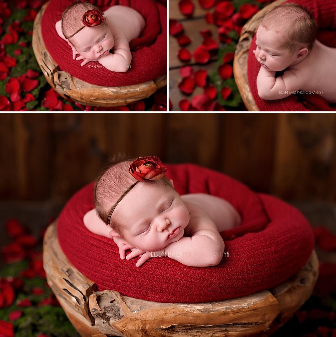 Newborn Photo Seattle red rose petals wooden bowl