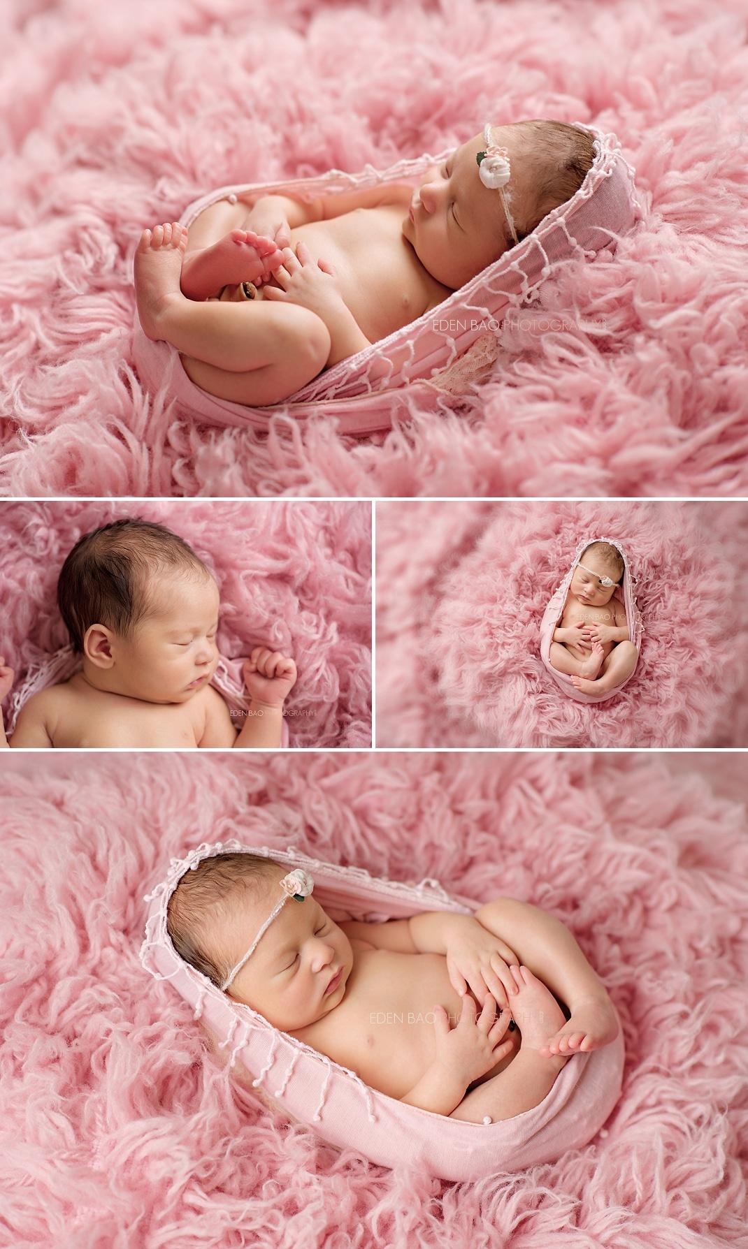 Newborn photographer Seattle Pink shaggy background