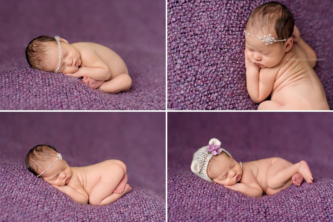 Newborn photographer Seattle lavender purple blanket