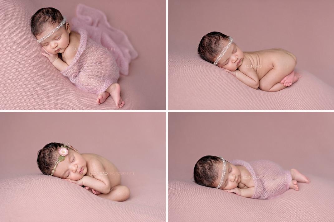 Seattle Newborn Photographer dusty pink blanket beanbag