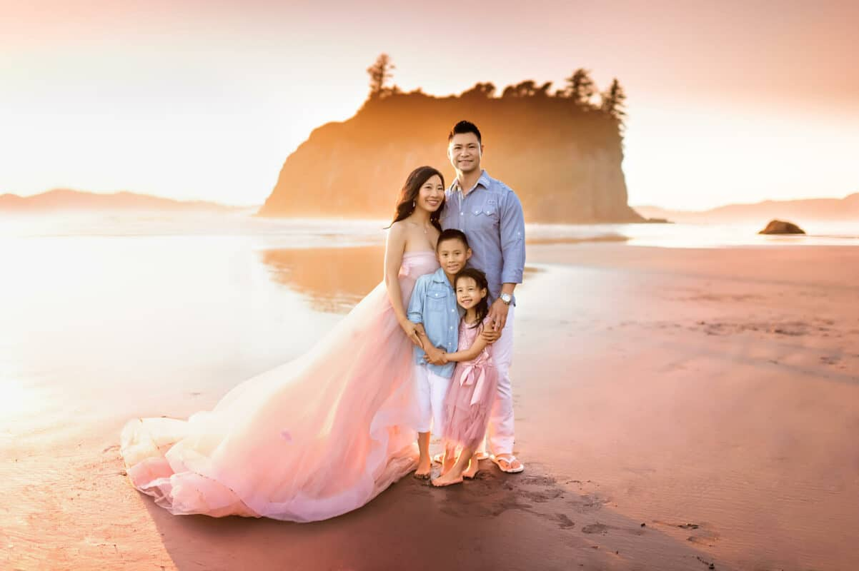 Family Photos Ruby Beach Golden Hour Sunset pink dress Eden Bao