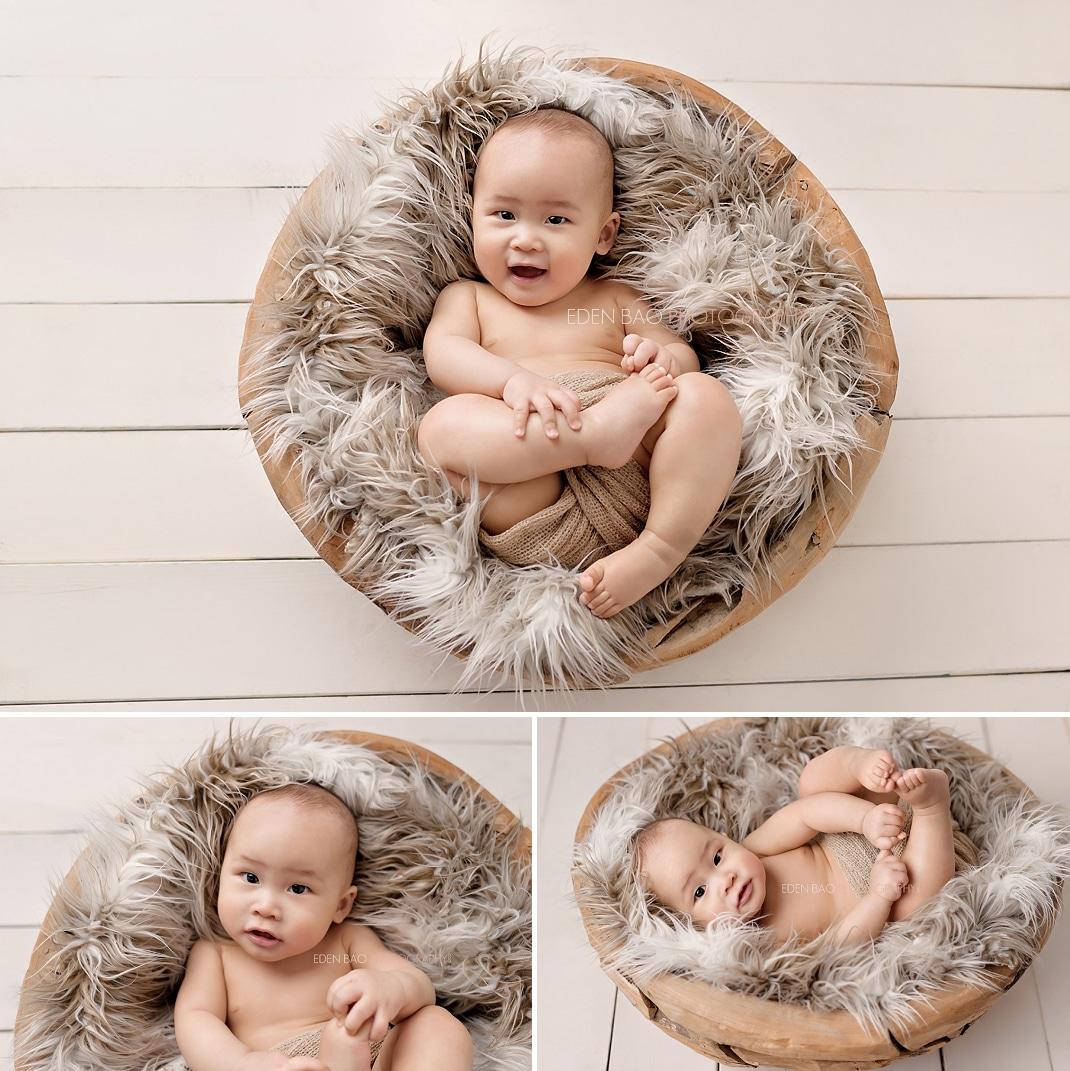 Seattle Baby Photographer wooden bowl cream