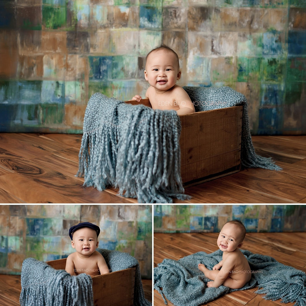 Seattle Baby Photographer wooden crate blue background