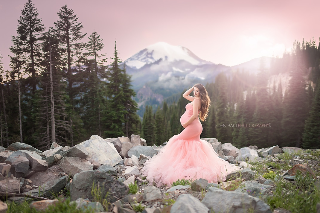 Mt Rainier elegant maternity photography pink dress