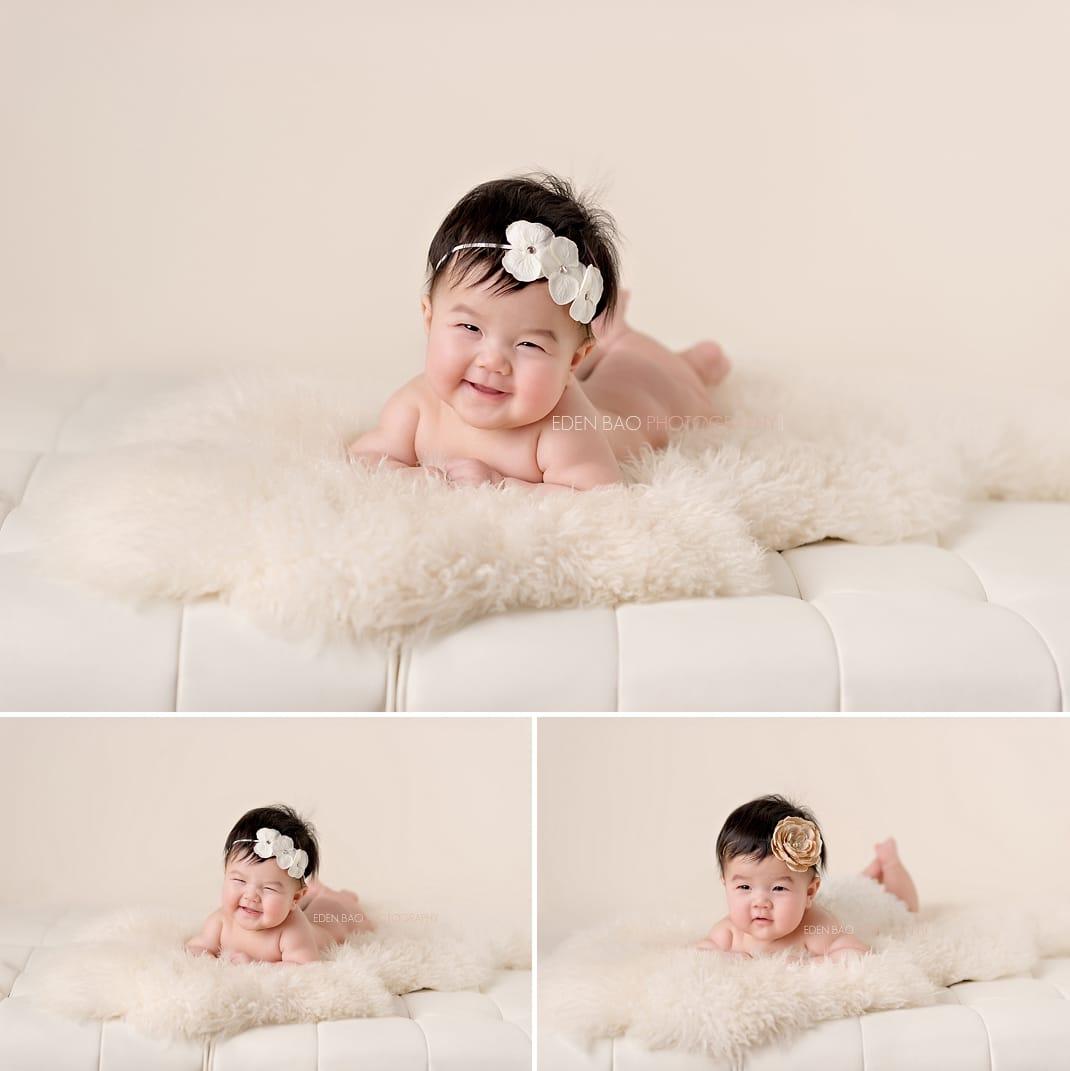 Seattle Baby Photographer cream couch sheepskin rug