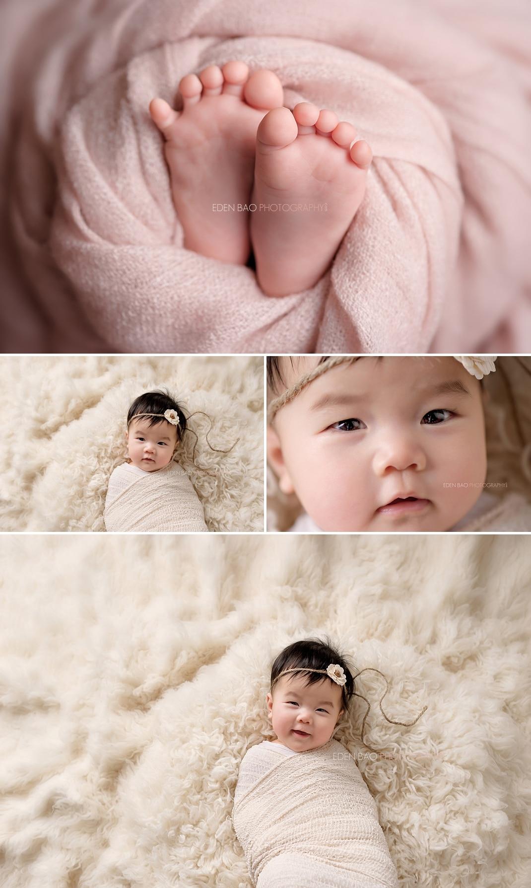 Seattle Baby Photographer cream shag rug