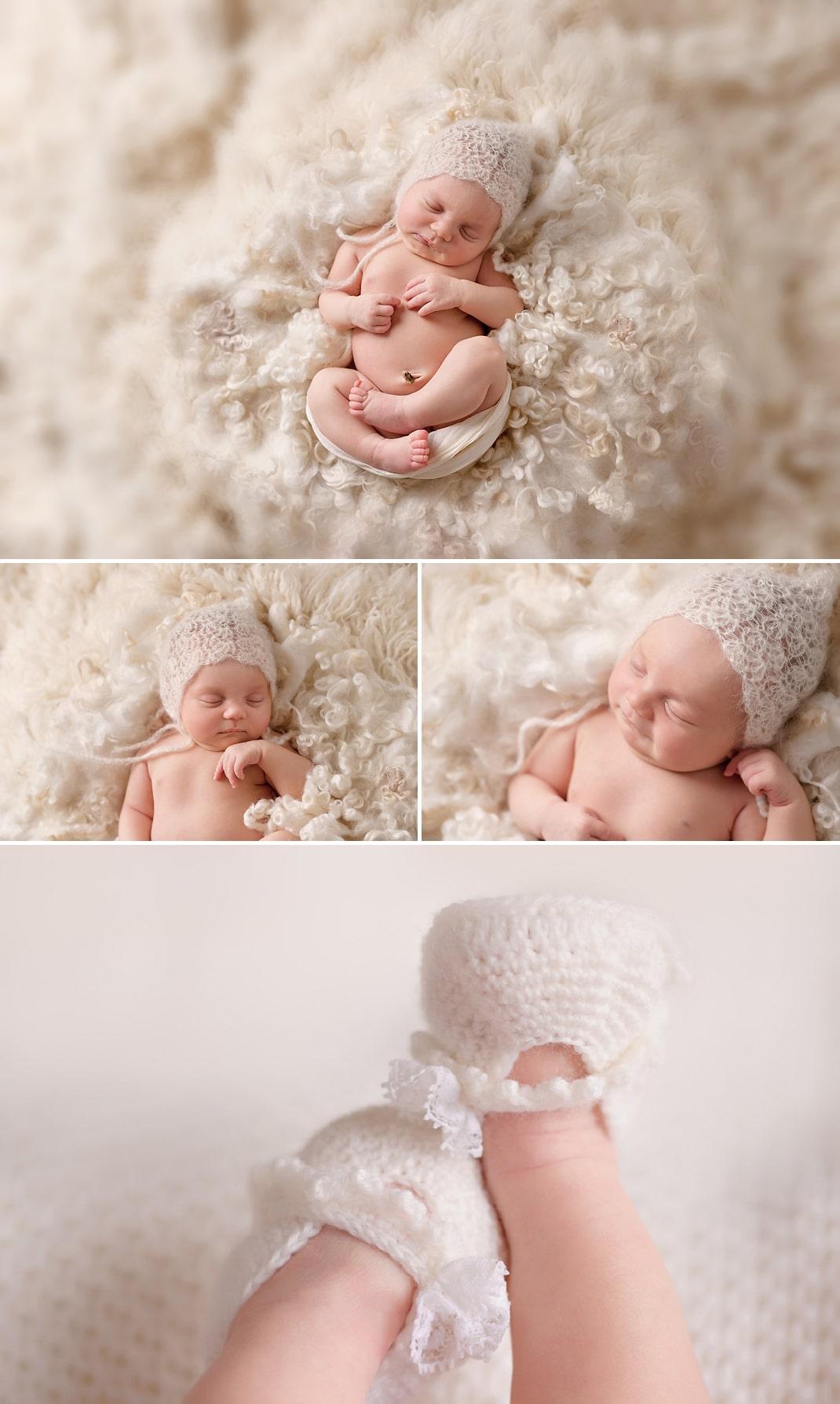 Seattle Area Newborn Photography Cream shaggy rug