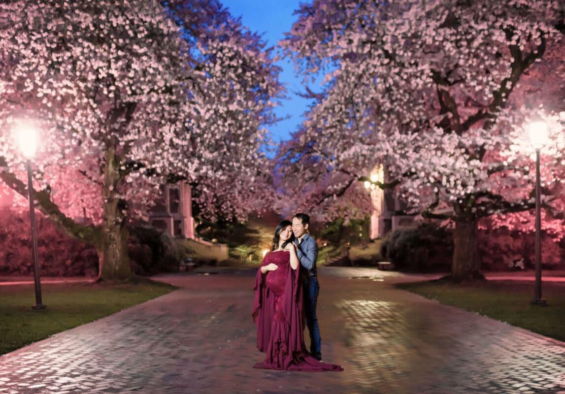 Cherry blossom maternity shoot UW Quad Seattle photographer
