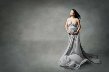 Artistic Studio Maternity Gray Gown Seattle Photographer