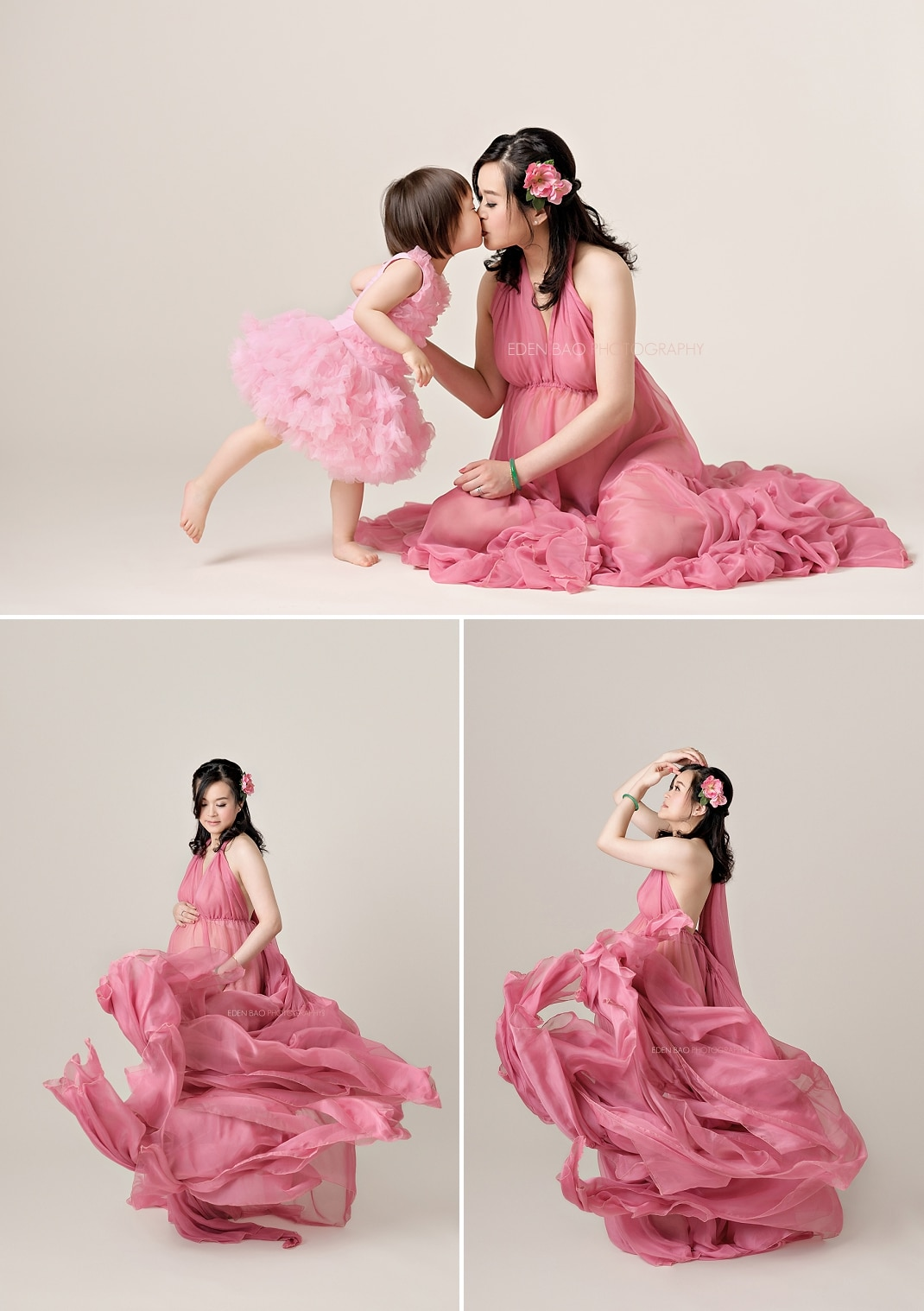 Everett Maternity Photography Pink flowing dress