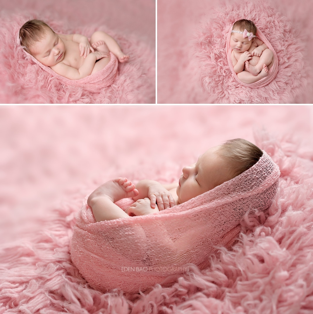 Newborn Professional Photos Seattle pink shaggy rug