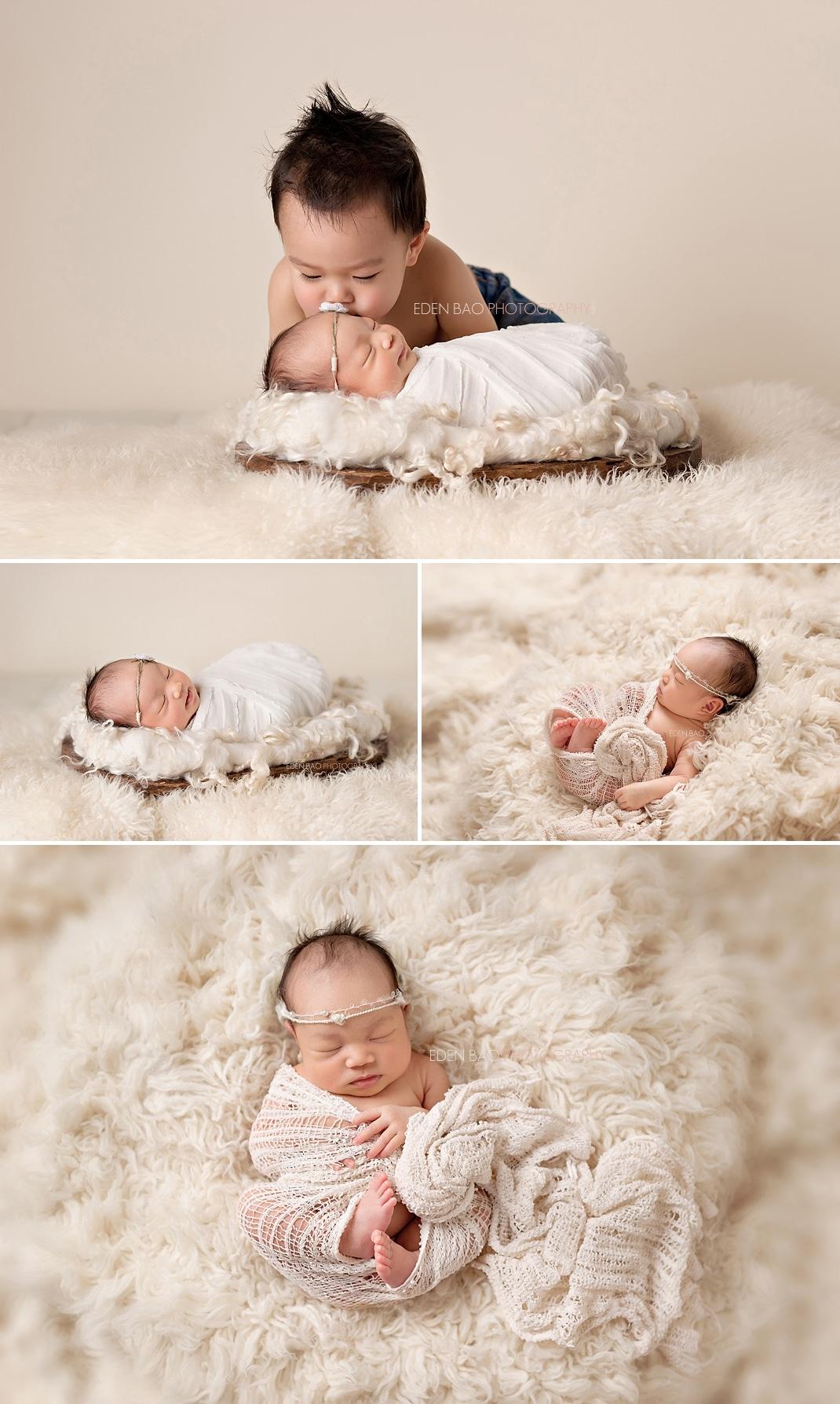 Newborn Photography Seattle cream shaggy rug