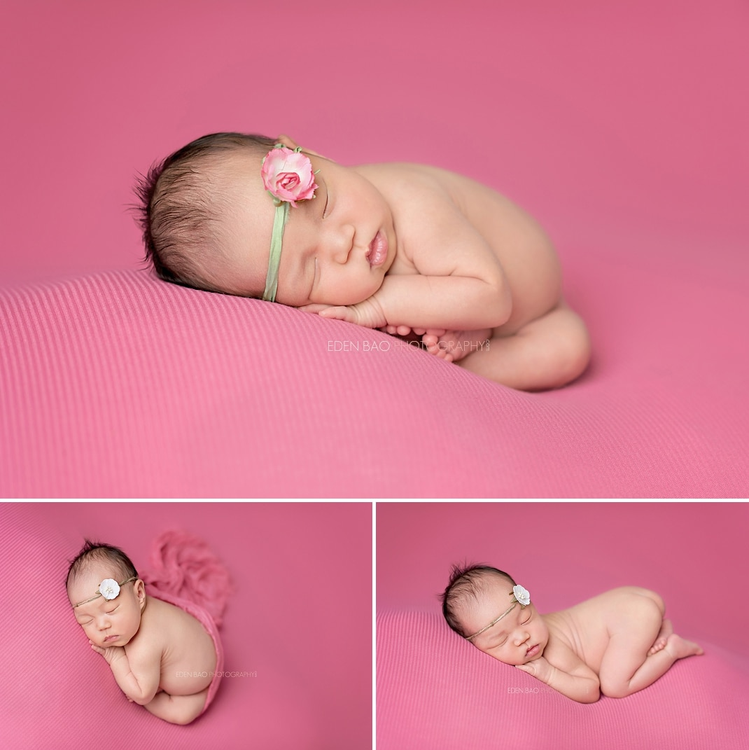 Newborn Photography Seattle fuschia pink blanket