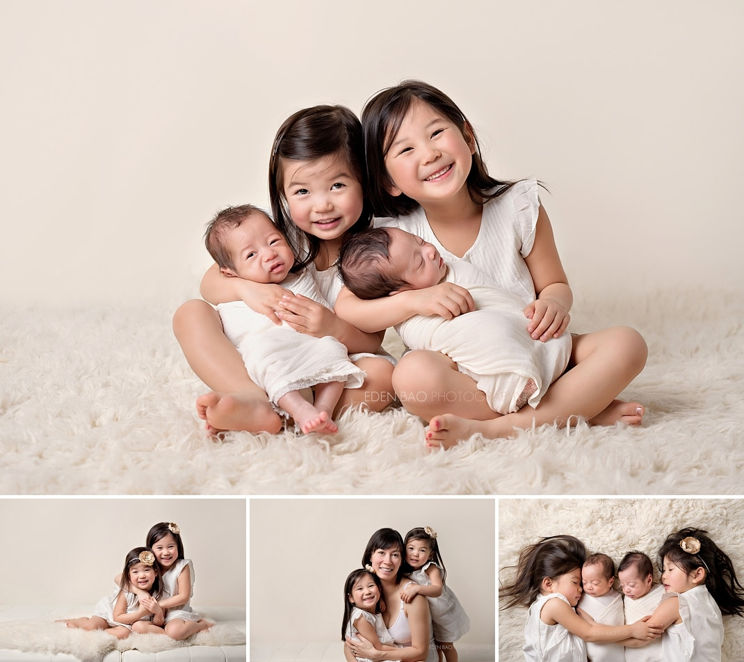 Newborn Photographer Everett twins with siblings sisters