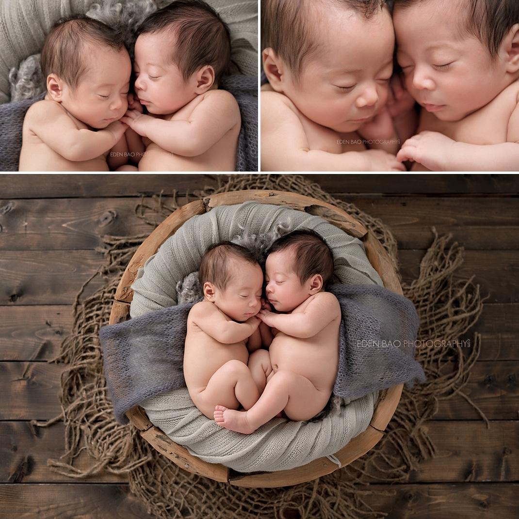 Newborn Photographer Everett twins wood floor
